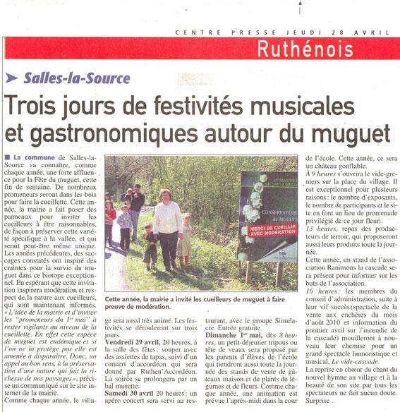 Centre-presse - 28 avril 2001 premier mai à Salles-la-Source et cascade
