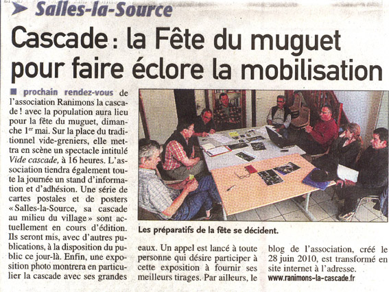 centre-presse-cascade de Salles-la-Source et fête du muguet- 26 avril 2011