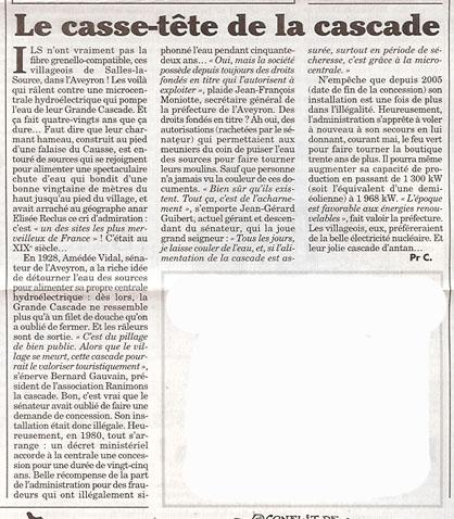 article du canard enchaîné sur la cascade de Salles-la-Source - 20 avril 2011