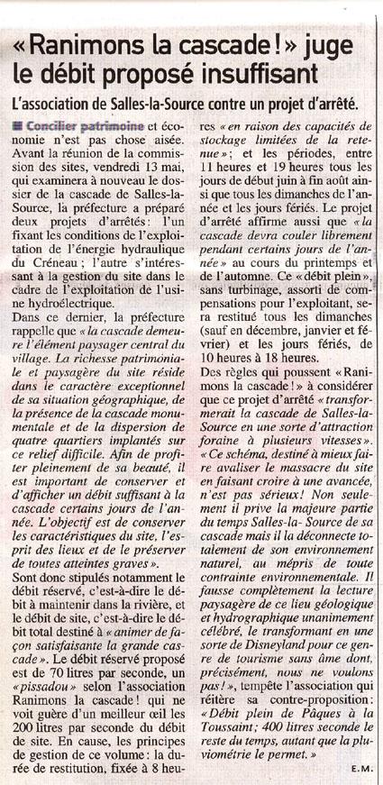 un débit insuffisant, article de Centre-presse du 11 mai 2011