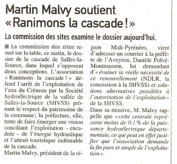 Martin Malvy soutient la cascade de Salles-la-Source