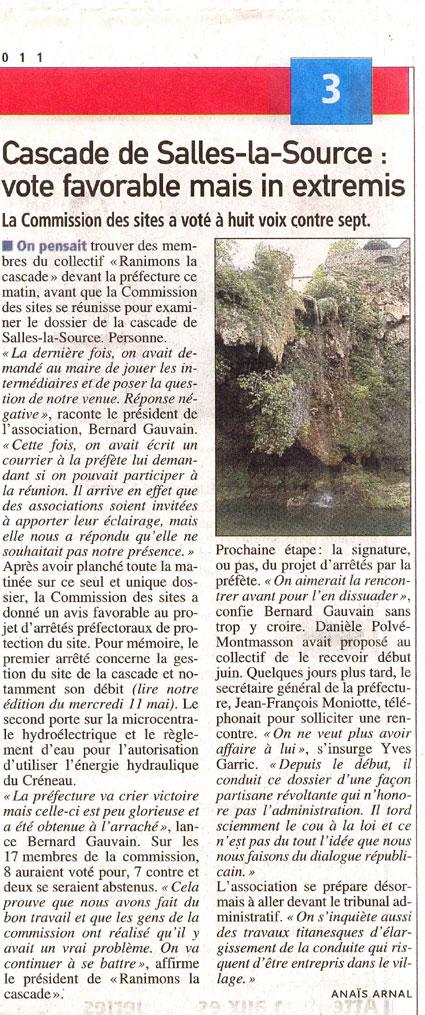 Centre-Presse 14 mai 2011 - Commission des sites - cascade Salles-la-Source