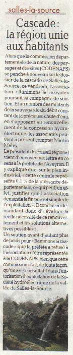 La région Midi-pyrénée soutient la cascade de Salles-la-Source