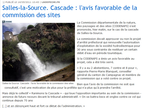 Dépêche du Midi - 14 mai 2011 - commission des sites - cascade