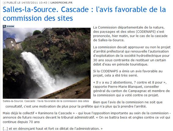 Dépêche du Midi - 14 mai 2011 - commission des sites - cascade