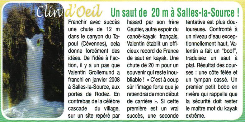 Valentin Grollemund à la cascade de la Crouzie, à Salles-la-Source
