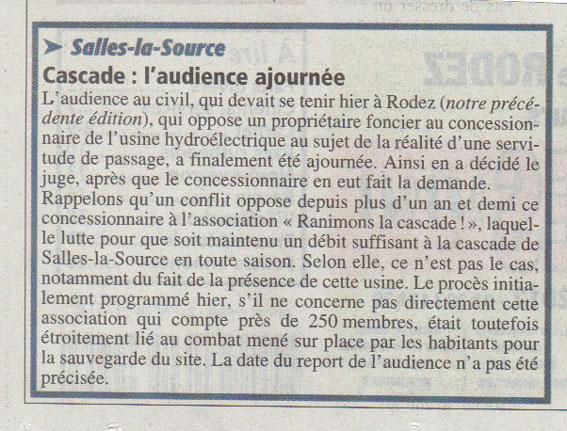 Cascade de Salles-la-Source, audience ajournée