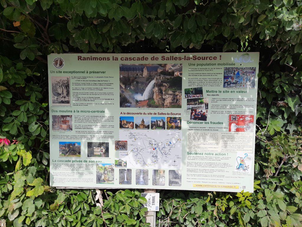 """panneau d'information de """"Ranimons la cascade !"""""""